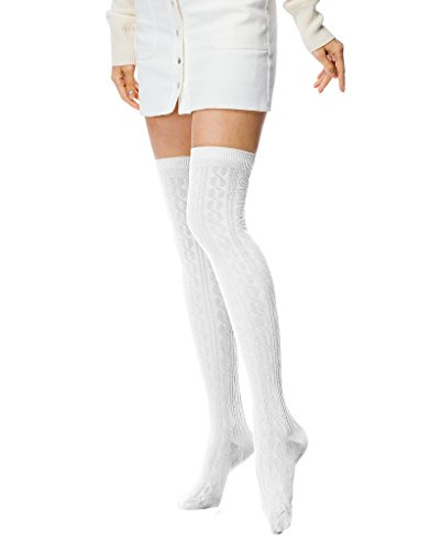 Fashion Extra Long Cotton Thigh High Socks light (Flat Knee High Sock)