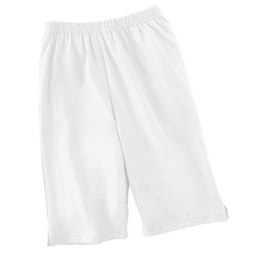 Collections Etc Women's Bermuda Style Elastic Waist Shorts, White, Medium ()