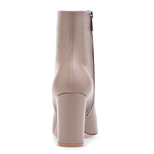 Classiche Beige 8cm Blocco Stivaletti Inverno Alto Donna Con Elegante Tacco Elashe w4vR1qf8