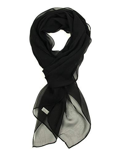 (Black Chiffon Scarf For Women - PANTONIGHT Fashionable Soft Chiffon Scarf for Women Black Solid Color (plain black S))