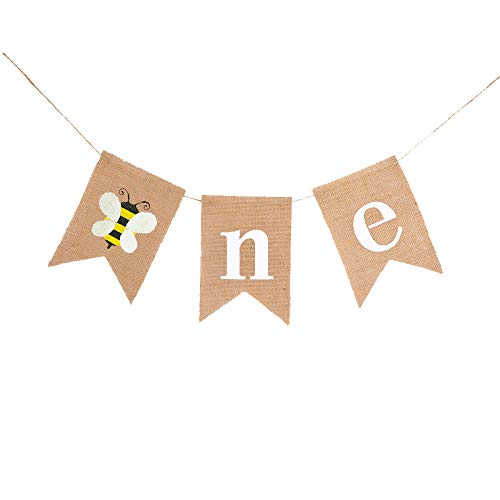 Rainlemon Jute Burlap Bumble Bee One Banner Rustic Boy Girl 1st Birthday Party Highchair Decoration