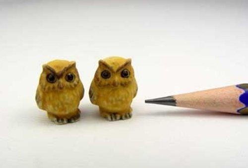 Dollhouse Miniatures Ceramic Yellow Owl FIGURINE Animals Decor by ChangThai Design