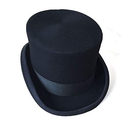 Formal La Lana Metro Steampunk Top Bowler De Mago Negro Sombrerero Vendimia Sombrero Thinkin Fieltro Patchwork qAwx8t