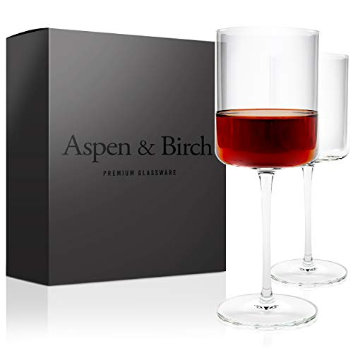 Aspen & Birch | Modern Wine Glasses Set of 6 | Red Wine Glasses or White Wine Glasses | 100% Lead Free Crystal Stemware | Large Long Stem Wine Glasses Set | Clear | 15oz | Hand Blown Glass (Or Wine For White Red Stemless Are Glasses)