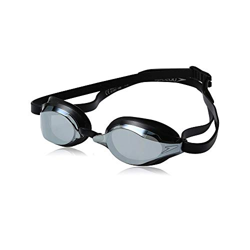 Speedo Speed Socket 2.0 Mirrored Swim Goggles, Black/Silver, One Size (Speedo Goggle Nose Piece)