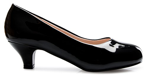 Olivia K Womens Comfort Classic Round Toe Kitten Low Mid Heel Dress Pumps
