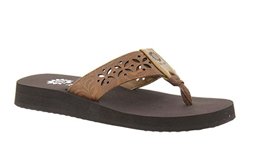 Yellow Box Women's Damara Brown Sandal 7.5 M (Yellow Box Flip Flops Brown compare prices)