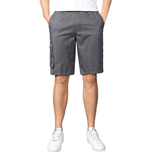 XQXCL Cargo Shorts for Men Cotton Solid Color Elastic Waistband and Anti-Theft Pocket Gray ()