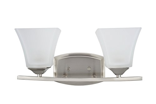 "Aspen Creative 62053, Two-Light Metal Bathroom Vanity Wall Light Fixture, 16"" Wide, Transitional Design in Brushed Nickel with Etched White Glass Shade - 2 Light bath bar lighting fixture in Brushed Nickel with Etched White Glass shade Fixture Dimensions: 6"" Deep x 16"" Wide x 7 1/2"" Height Requires 2 medium base light bulb, 60 watt max (not included) - bathroom-lights, bathroom-fixtures-hardware, bathroom - 31tA%2BmTNNvL -"