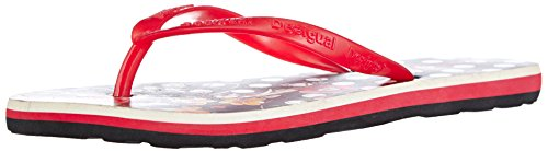 Desigual Womens Beach 3 Flip Flops Black White Red