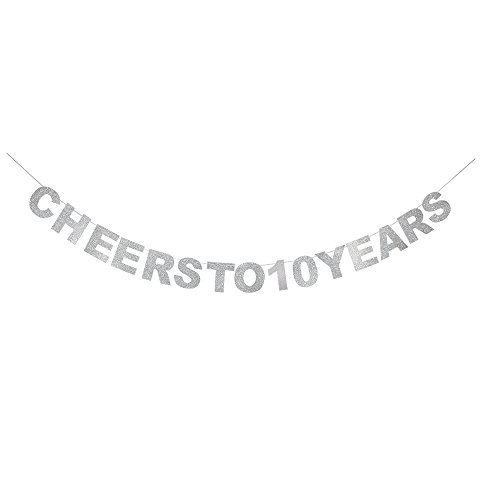 (waway Cheers To 10 Birthday Banner Silver Glitter Heart For 10th Anniversary 10 Years Old Birthday Party Decoration Supplies)