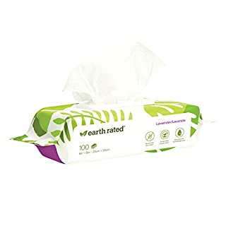 Earth Rated Dog Wipes, 100 Plant-Based and Compostable Wipes for Dogs, USDA-Certified 99 Percent Biobased, Hypoallergenic, Lavender-Scented Deodorizing Grooming Pet Wipes for Paws, Body and Butt