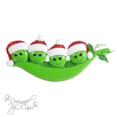 (DesignedByCassi Personalized Christmas Ornament Pea Family of 4/ Friends/Pea Pod/Coworkers Custom)