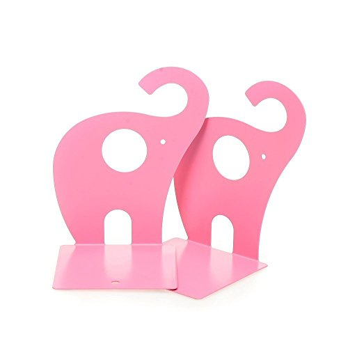 1pair Pink Cute Elephant Nonskid Bookends Book Rack Book Organizer Bookend Art ()