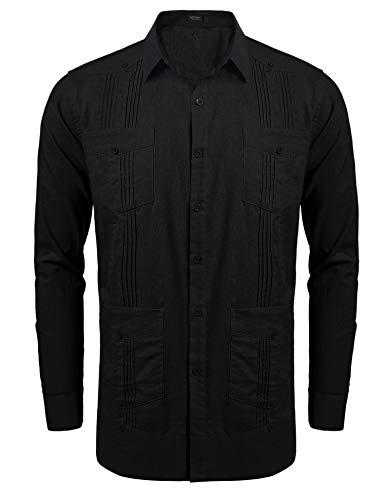 COOFANDY Mens Long-Sleeve Guayabera Cuban Shirt Casual Button Down Cotton Linen Shirt,Black,XX-Large