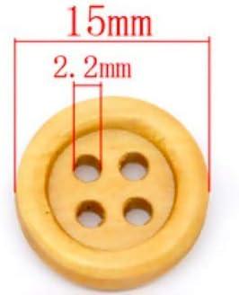 120 Unidades, 15 mm, Redondos, 4 Agujeros Kanighton Botones de Madera Color marr/ón Claro