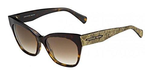 Alexander McQueen Women's AMQ 4261/S Dark Havana Gold/Brown - Cheap Mcqueen Alexander
