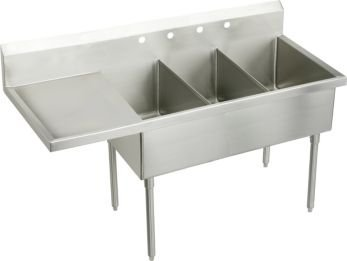 UPC 094902205267, Elkay WNSF8345L0 Weldbilt Three Compartment Scullery Commercial