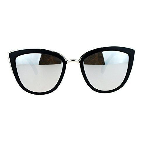 SA106 Womens Oversize Cat Eye Sunglasses Matte Black Silver - Sunglasses Mirror