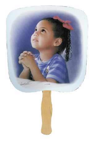 Church Hand Fans (Swanson Christian - Parlor and Church Hand Fan - Traditional Style - Prayerful - Praying Girl Image)
