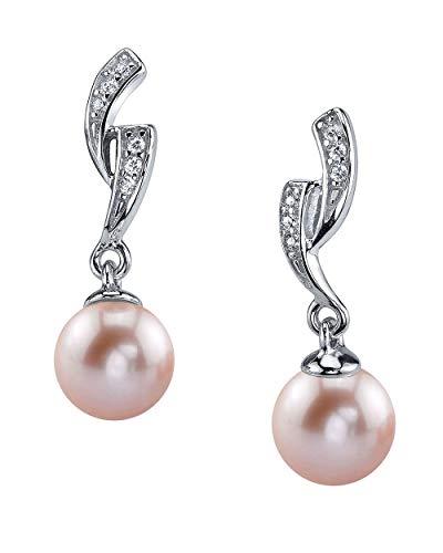 THE PEARL SOURCE 8-9mm Genuine Pink Freshwater Cultured Pearl Delilah Earrings for Women (Earrings Pink Genuine Pearl 9mm)