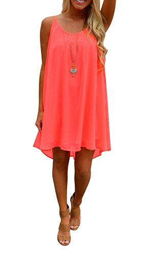 Preferhouse Women's Beach Cover Up Casual Sun Dress Maxi Tanks XXL Coral