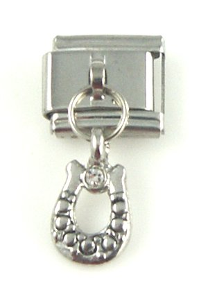 Italian Charm - Dangle Silver Horseshoe