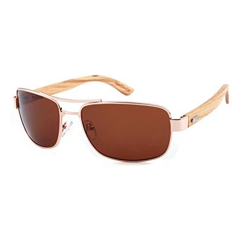 de bambú Brown sol Gafas bambú Color clásicas conducción Marco Gafas del polarizadas metálico Gafas Gray Unisex de Oqa77Fdxw