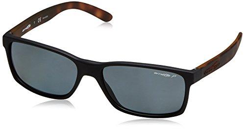 Arnette Men's Slickster Polarized Rectangular Sunglasses, Fuzzy Black, 57.7 mm ()