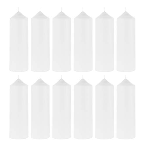 Dome Pillar - Mega Candles 12 pcs Unscented White Dome Top Pillar Candle | Economical One Time Use Event Wax Candles 3