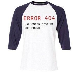 404 Halloween Costumes - Baseball Sleeve: Error 404 Halloween Costume