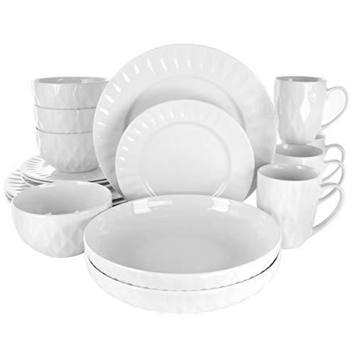 Elama White Porcelain Dish Dinnerware Set, 18 Piece, Sienna