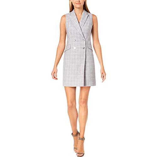 Calvin Klein Women's Check Print Sleeveless Coat Dress CD8EV5PL Tin/Cream 8 ()