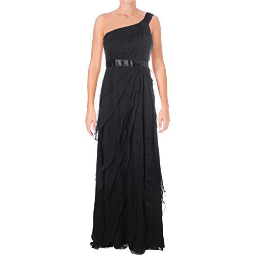 Adrianna Papell Women's Draped One Shoulder Chiffon Flutter, Black, 6 (Draped Shoulder Dress)