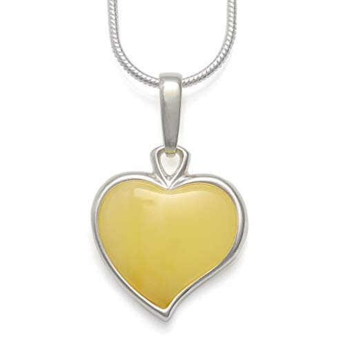 925 Sterling Silver Heart Pendant Necklace with Genuine Natural Baltic Butterscotch Amber. Chain Included