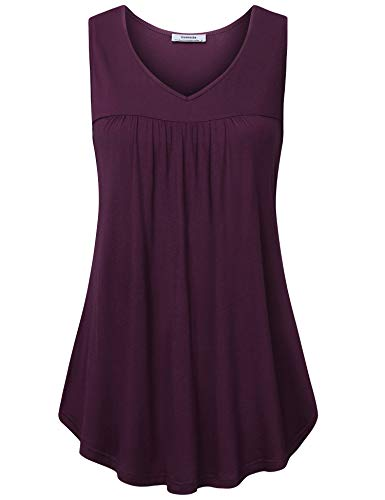 Youtalia Women Tunic Tank, Summer V Neck Sleeveless Comfy Loose Fitting T Shirt Top Dark Red X-Large