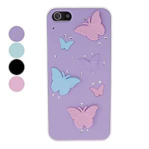 Elegant Butterfly Pattern with Diamond Hard Case for iPhone 5/5S (Assorted Colors) , Green