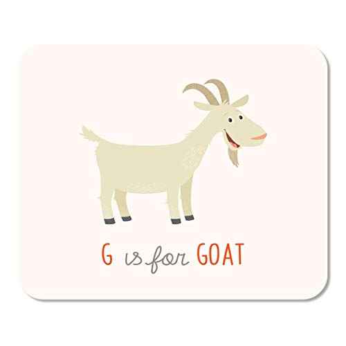 Suike Mousepad Computer Notepad Office Colorful Flat Cartoon White Goat G is for Clipart Drawing ABC Alphabet Animal Home School Game Player Computer Worker 9.5x7.9 Inch