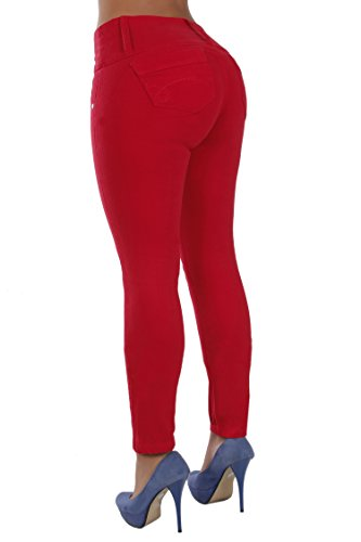 Curvify High Waisted Butt Lifting Slimming Jeans for Women - Skinny Stretch Jean 766(766, Red, 7)