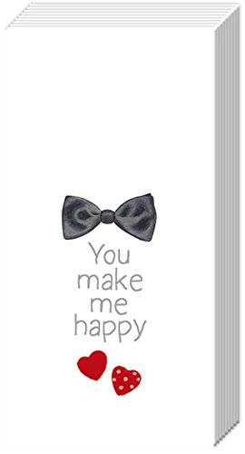 2 packs of Paper Pocket handbag Tissues Hankies - YOU MAKE ME HAPPY Bow Tie Wedding - Pocket Tissue IHR
