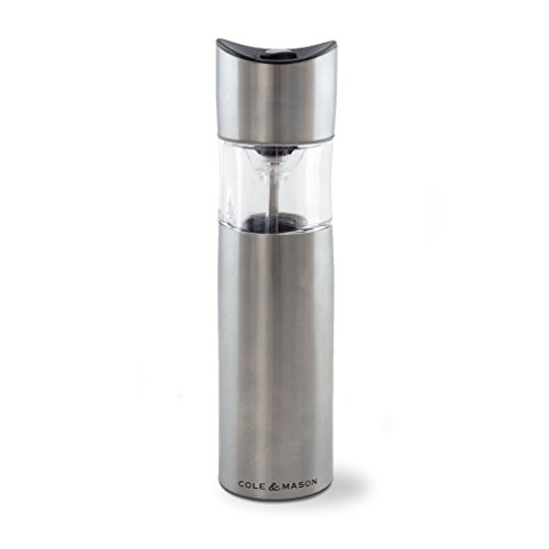 Cole & Mason Penrose Electric Salt and Pepper Grinder - Electronic, Battery Operated Mill, Stainless Steel