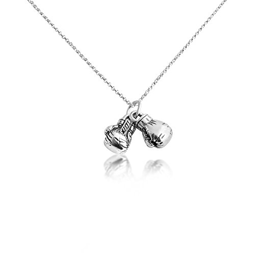 (Azaggi Sterling Silver Handcrafted Boxing Gloves Necklace (22))