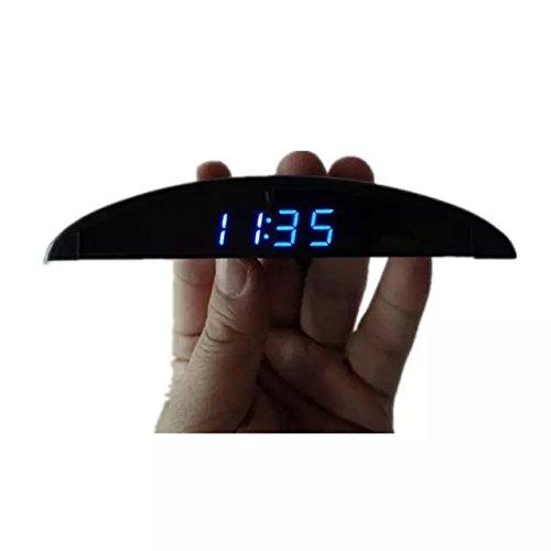 Goliton® Ultradünne Auto Onboard elektronischer Taktgeber Voltmeter Spannungsmesser Thermometer Temperatur-Messinstrument - Schwarz