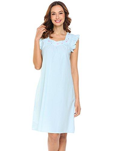 MAXMODA Women Nightwear Short Cotton Sleepwear Nightgown Sky Blue XXL