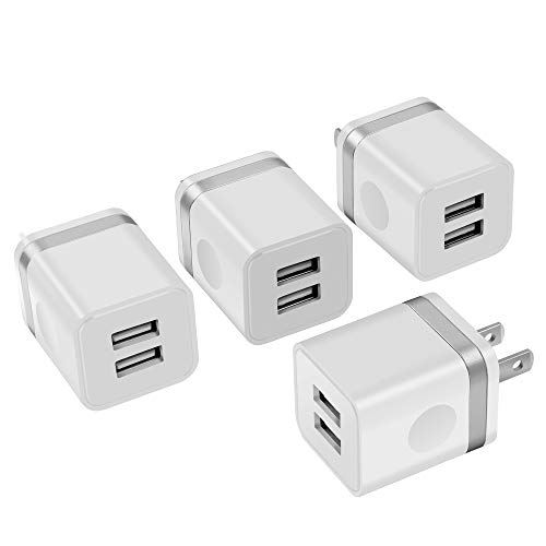 USB Wall Charger, Power-7 4-Pack 2.1A Dual Port USB Wall Plug Charging Block Cube Power Adapter Compatible with iPhone Xs XR Xs Max X 8 7 6 Plus, iPad, Samsung, LG, Moto, Google Pixel, HTC and More