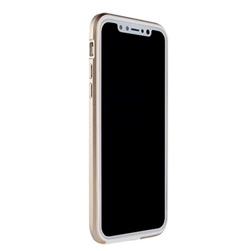 Humidors Metal Silicone Bezel Full Rim Anti-Drop Phone case iPhone X Hand case Lover's case. (Color : Gold)