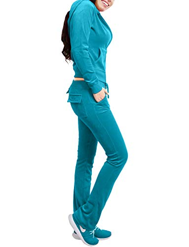 NE PEOPLE Womens Casual Basic Velour Zip Up Hoodie Sweatsuit Tracksuit Set S-3XL -