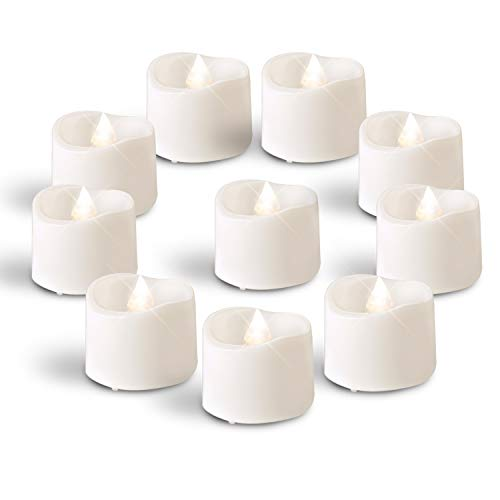 Homemory Bright White LED Tea Light Candles, Set of 24 Flickering LED Tea Lights, Battery Operated Tea Candles for Wedding Table Centerpieces, Mood Lighting and Home Decor (Candle Led Battery)