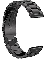 RRunzfon Smart Watch Strap 18 mm rostfritt stål armband kompatibel med Apple Huawei svart, smart tillbehör