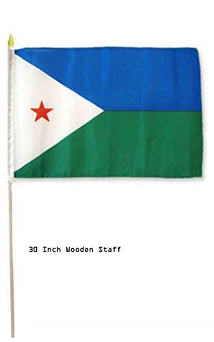 ALBATROS 12 in x 18 in (Pack of 12) Djibouti Country Stick Flag 30in with Wood Staff for Home and Parades, Official Party, All Weather Indoors Outdoors]()